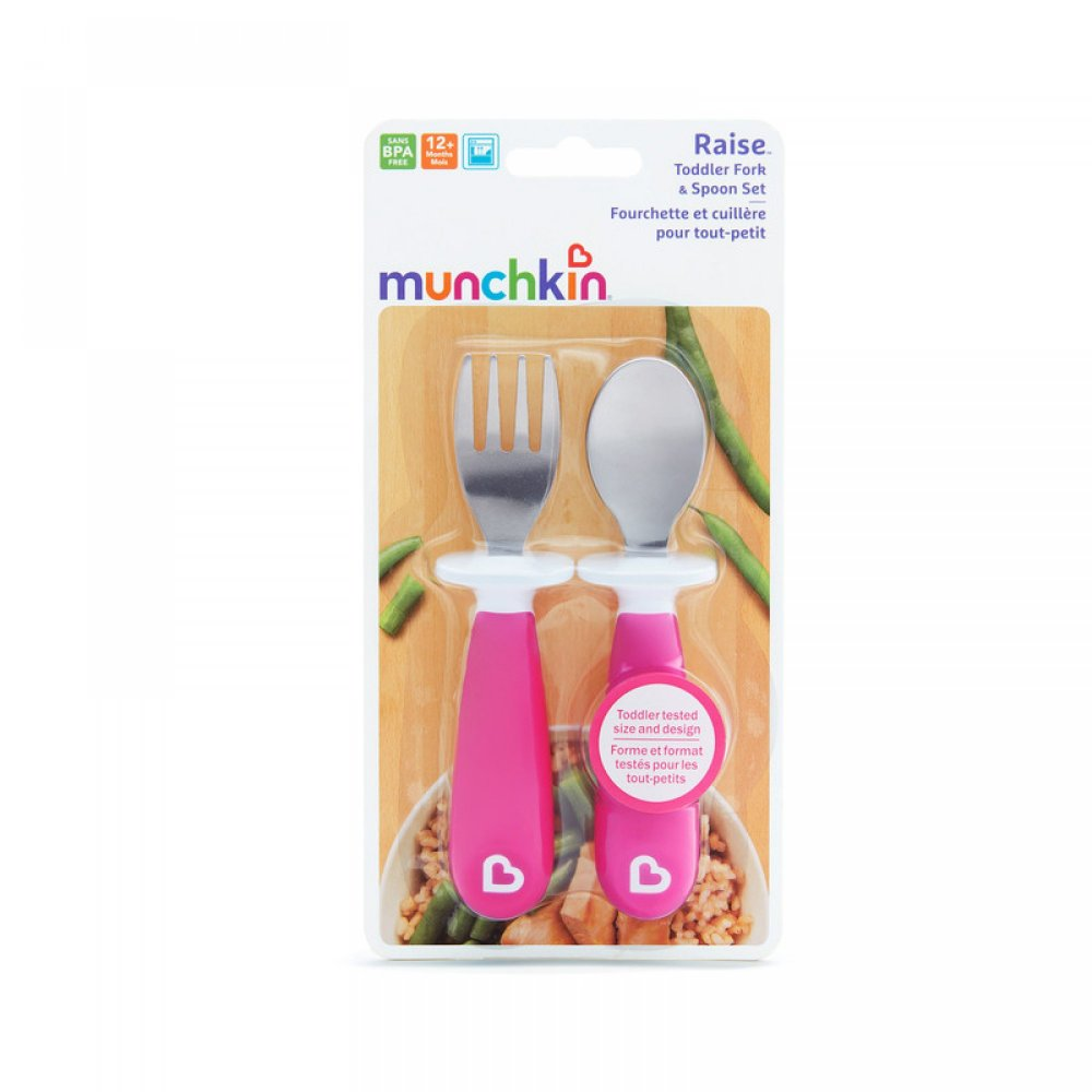 RAISE TODDLER FORK & SPOON Pink