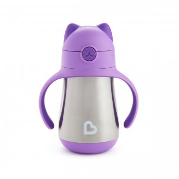Munchkin Munchkin Cool Cat - Stainless Straw Cup - Purple
